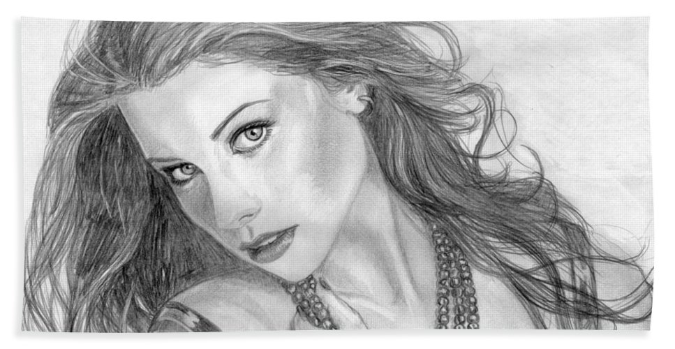 Michelle Trachtenberg Bath Towel featuring the drawing 19 by Kristopher VonKaufman