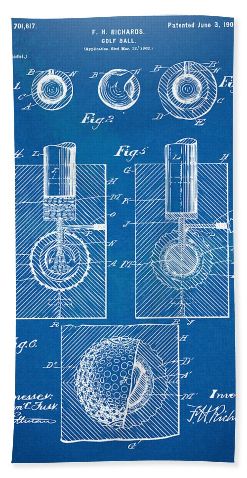 1902 golf ball patent artwork blueprint bath towel for sale by golf bath towel featuring the digital art 1902 golf ball patent artwork blueprint by nikki malvernweather