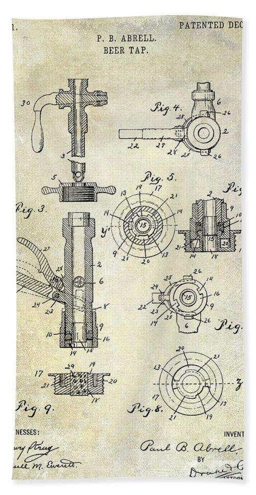 Beer Bath Sheet featuring the photograph 1903 Beer Tap Patent by Jon Neidert