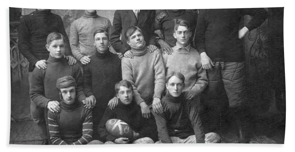 1900s Hand Towel featuring the photograph 1908 Football Team by Underwood Archives
