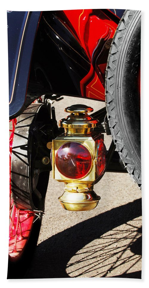 Horseless Carriage Hand Towel featuring the photograph 1911 Ford Model T Torpedo Lamp by Jill Reger