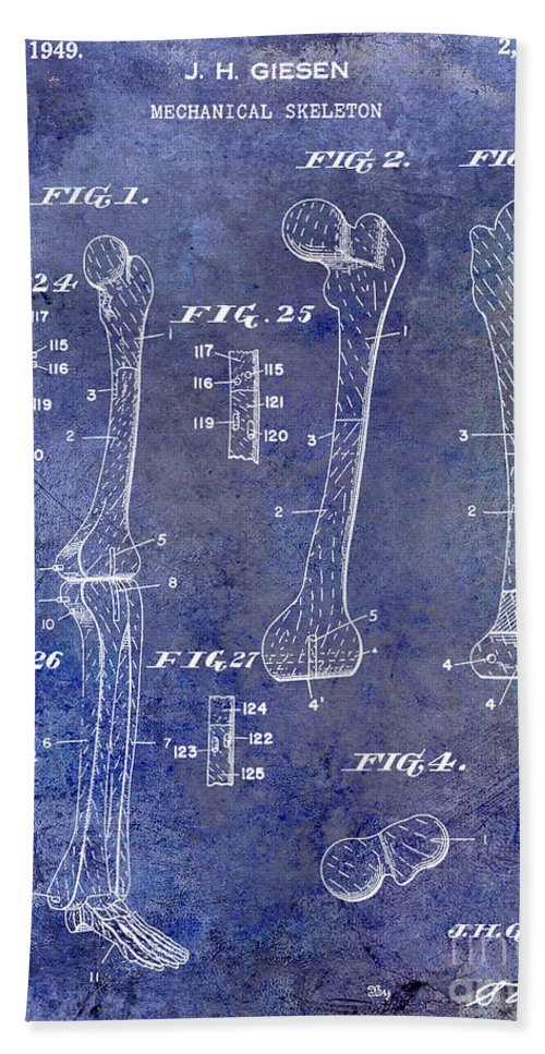 Skeleton Bath Sheet featuring the photograph 1911 Mechanical Skeleton Patent 1 Blue by Jon Neidert