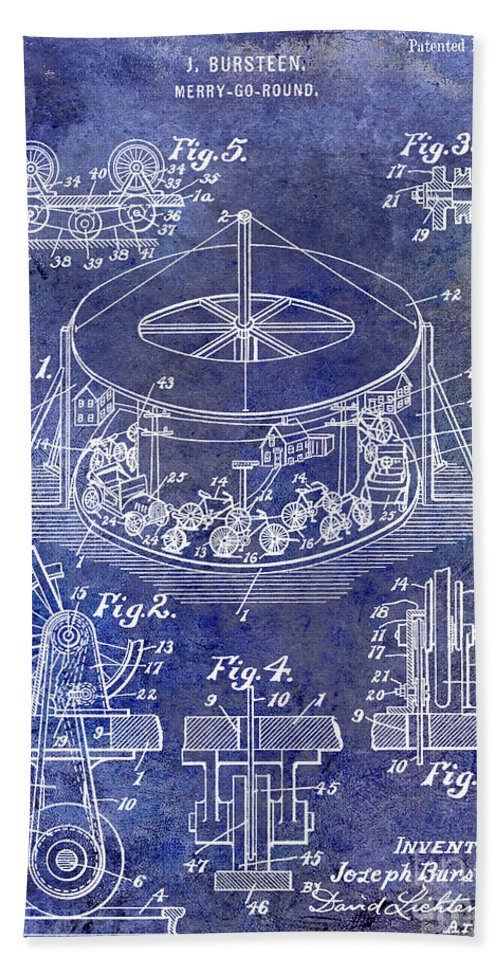 Merry Go Round Bath Sheet featuring the photograph 1916 Merry Go Round Patent Blue by Jon Neidert