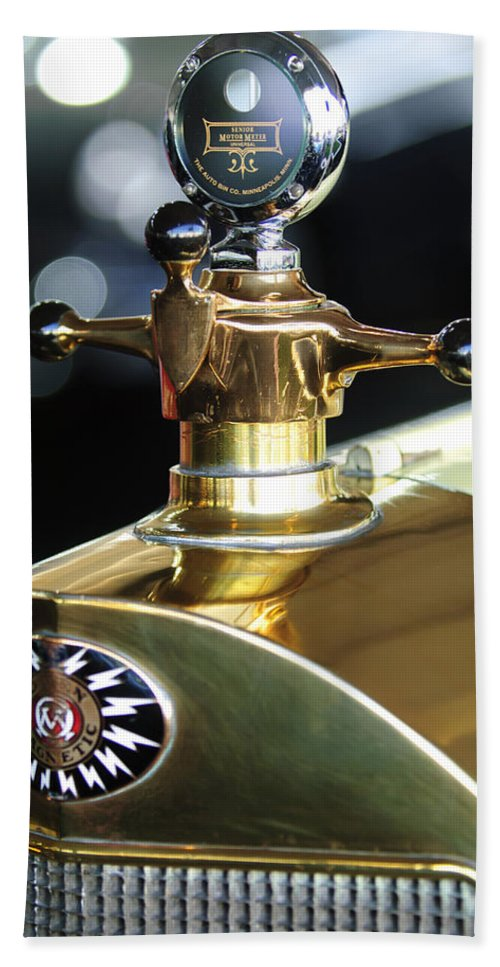 1917 Owen Magnetic M-25 Touring Hand Towel featuring the photograph 1917 Owen Magnetic M-25 Hood Ornament by Jill Reger