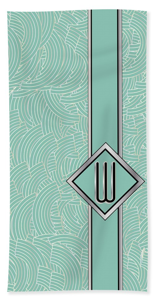 Monogrammed Hand Towel featuring the digital art 1920s Blue Deco Jazz Swing Monogram ...letter W by Cecely Bloom