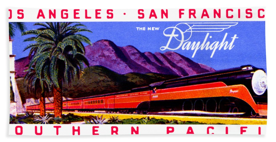 Vintage Hand Towel featuring the painting 1922 Daylight Railroad Train by Historic Image