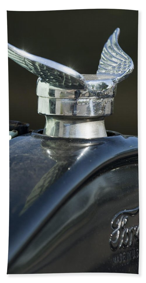 1925 Ford Model T Hand Towel featuring the photograph 1925 Ford Model T Hood Ornament by Jill Reger