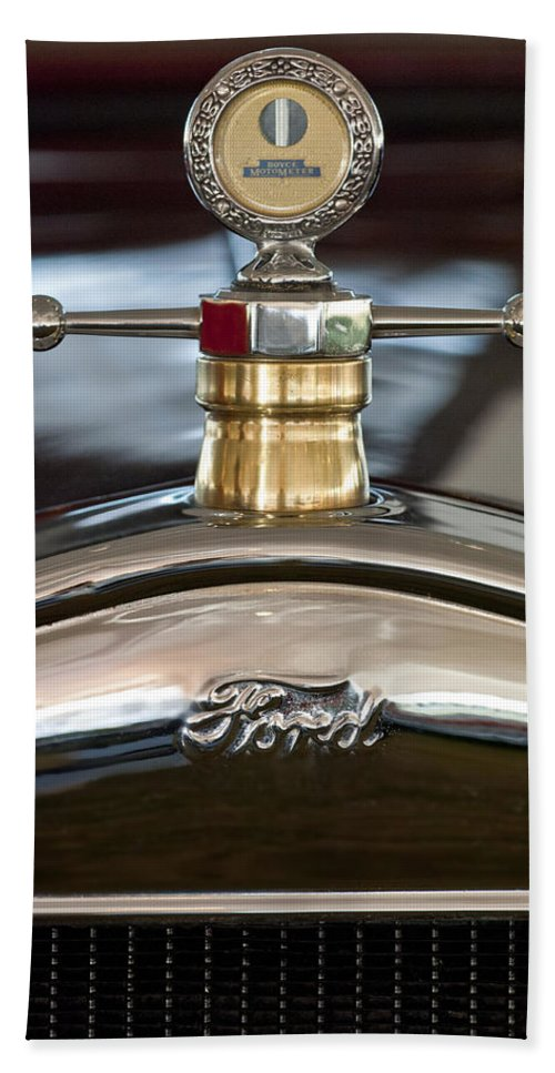 1927 Ford T Roadster Hand Towel featuring the photograph 1927 Ford T Roadster Hood Ornament by Jill Reger