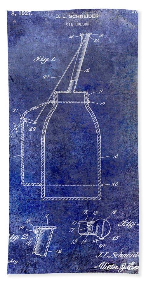 Oil Can Bath Sheet featuring the photograph 1927 Oil Can Patent Blue by Jon Neidert