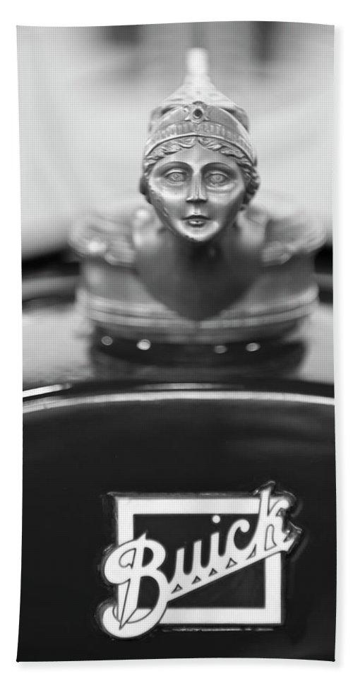 1928 Buick Custom Speedster Hand Towel featuring the photograph 1928 Buick Custom Speedster Hood Ornament 4 by Jill Reger