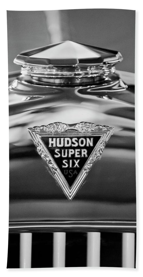1929 Hudson Cabriolet Hand Towel featuring the photograph 1929 Hudson Cabriolet Hood Ornament 2 by Jill Reger