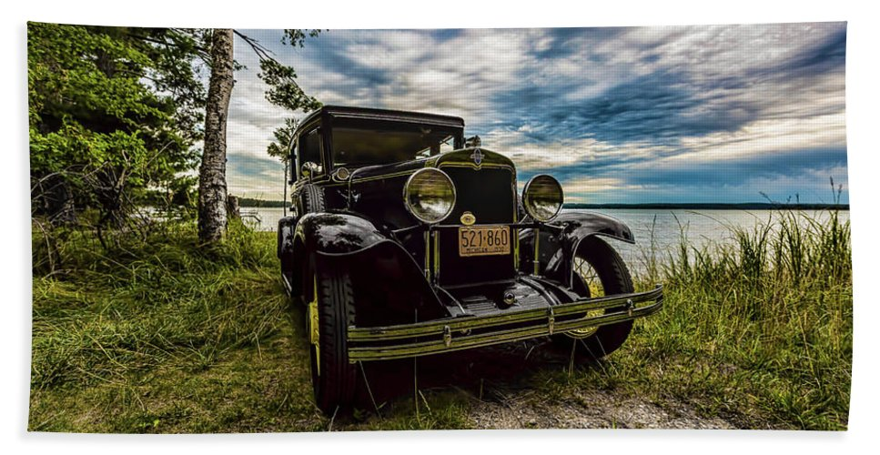 Higgins Lake Hand Towel featuring the photograph 1930 Chevy On The Shore Of Higgins Lake by Joe Holley