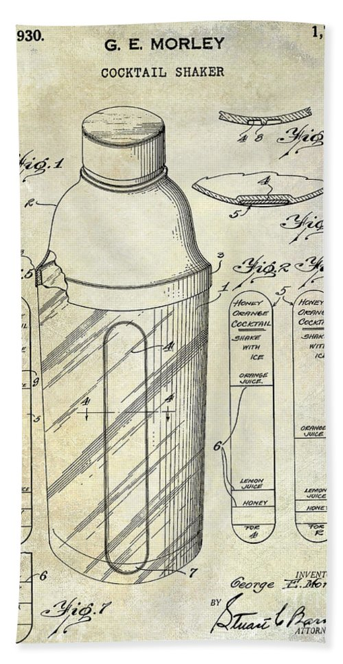 Martini Bath Sheet featuring the photograph 1930 Cocktail Shaker Patent by Jon Neidert