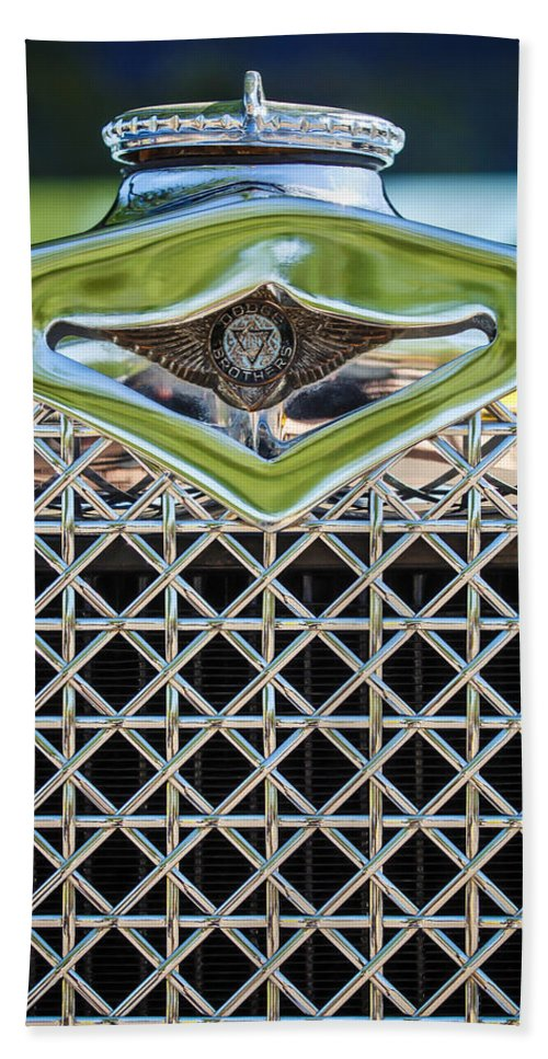 1930 Dodge Grille Emblem Bath Sheet featuring the photograph 1930 Db Dodge Brothers Hood Ornament And Grille by Jill Reger