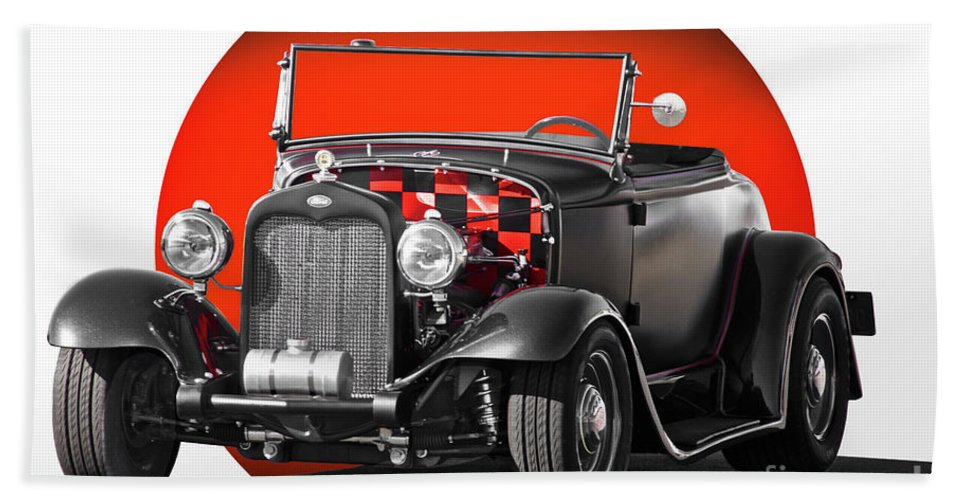 Auto Bath Sheet featuring the photograph 1930 Ford 'red Ball Express' II by Dave Koontz
