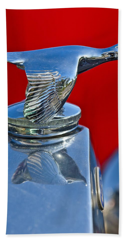 1931 Ford Model A Quail Hand Towel featuring the photograph 1931 Ford Model A Quail Hood Ornament by Jill Reger