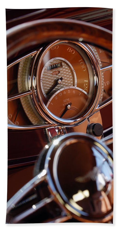 1932 Ford Hand Towel featuring the photograph 1932 Ford Hot Rod Speedometer by Jill Reger