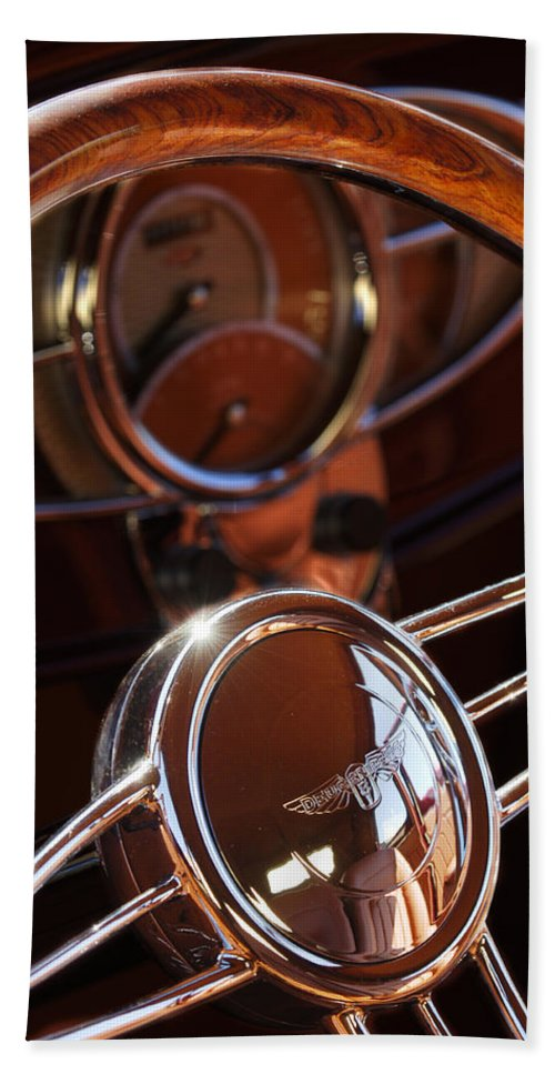 Car Bath Sheet featuring the photograph 1932 Ford Hot Rod Steering Wheel by Jill Reger