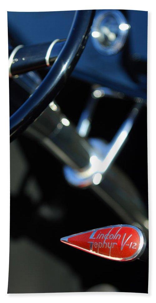 Car Bath Sheet featuring the photograph 1932 Hot Rod Lincoln V12 Gear Shifter by Jill Reger