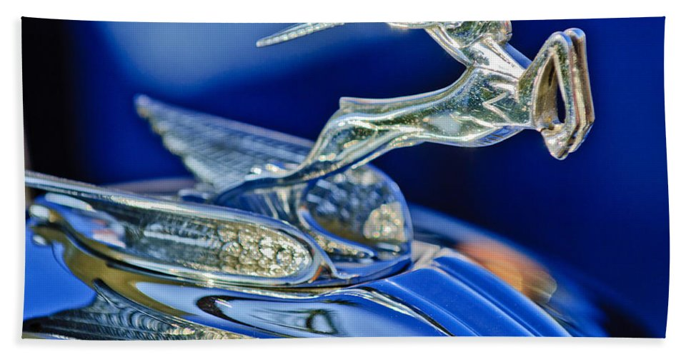 1933 Chrysler Imperial Hand Towel featuring the photograph 1933 Chrysler Imperial Hood Ornament by Jill Reger