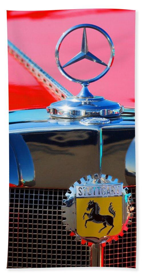 Transportation Bath Sheet featuring the photograph 1934 Mercedes Benz 500 K Roadster by Jill Reger