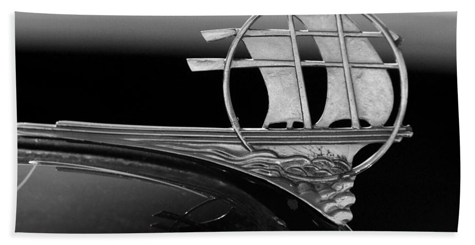 Transportation Bath Sheet featuring the photograph 1934 Plymouth Hood Ornament Black And White by Jill Reger