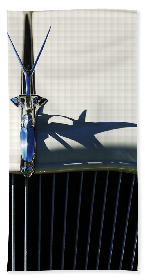 Car Hand Towel featuring the photograph 1934 Terraplane Coupe Hood Ornament by Jill Reger