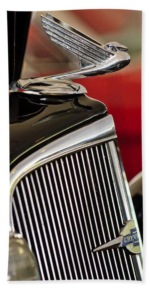 1935 Chevrolet Standard 3 Window Coupe Hand Towel featuring the photograph 1935 Chevrolet Optional Eagle Hood Ornament by Jill Reger