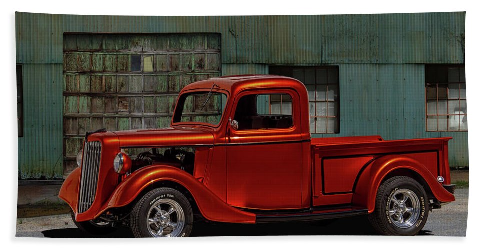 1935 Bath Sheet featuring the photograph 1935 Ford Pickup Parked At Garage by Nick Gray
