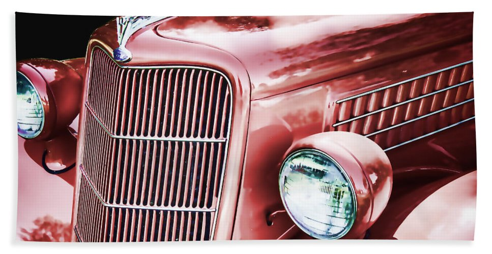 1935 Hand Towel featuring the photograph 1935 Ford Sedan Hood by Nick Gray