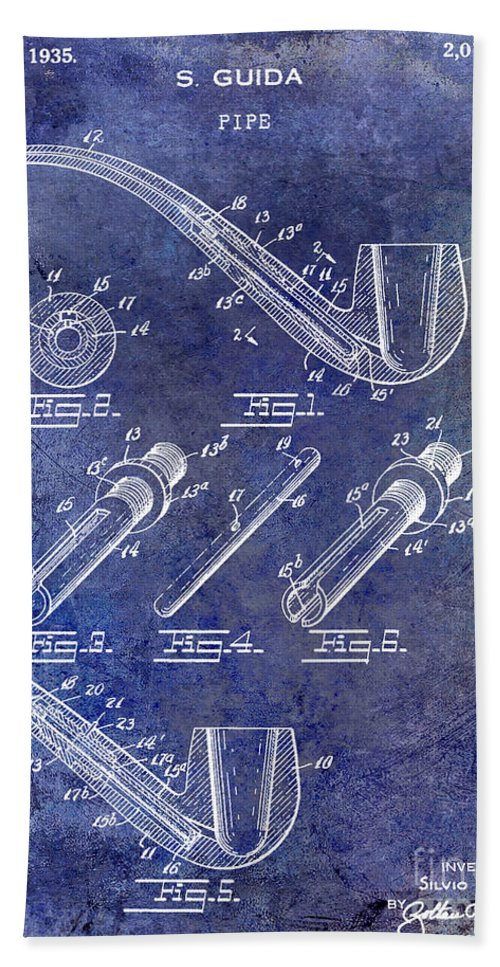 Pipe Patent Bath Sheet featuring the photograph 1935 Pipe Patent Blue by Jon Neidert