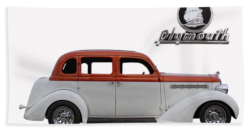 1935 Bath Sheet featuring the photograph 1935 Plymouth With Insignia by Nick Gray