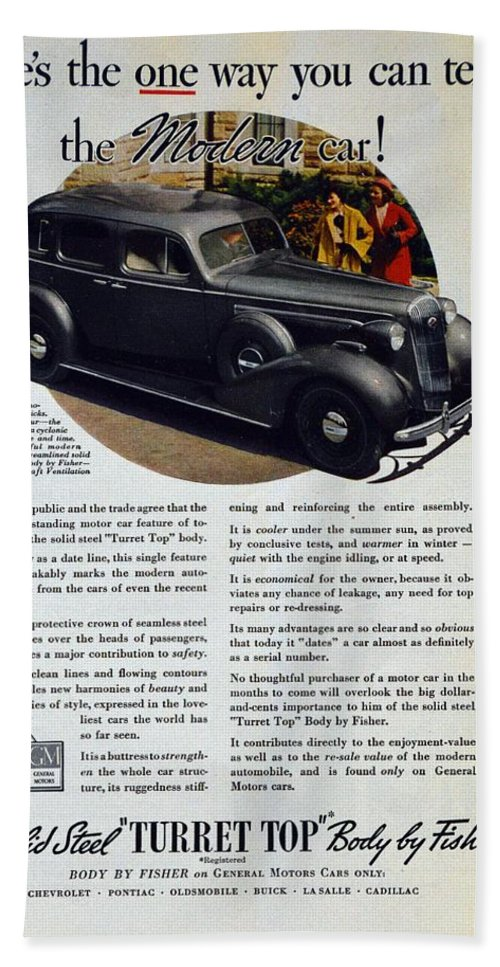 1936 Buick Century Bath Towel featuring the photograph 1936 Buick Century Classic Ad by Allen Beilschmidt