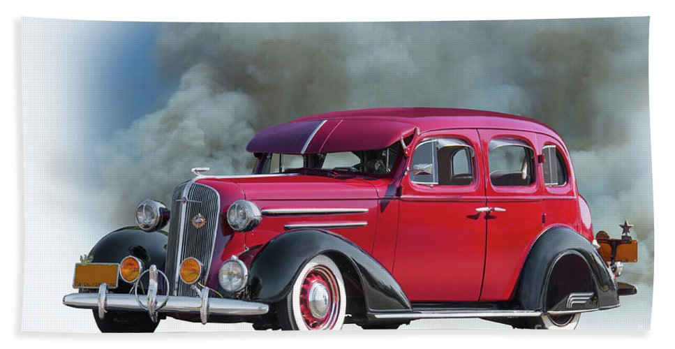 Automobile Bath Sheet featuring the photograph 1936 Chevrolet Master Deluxe Sedan by Dave Koontz