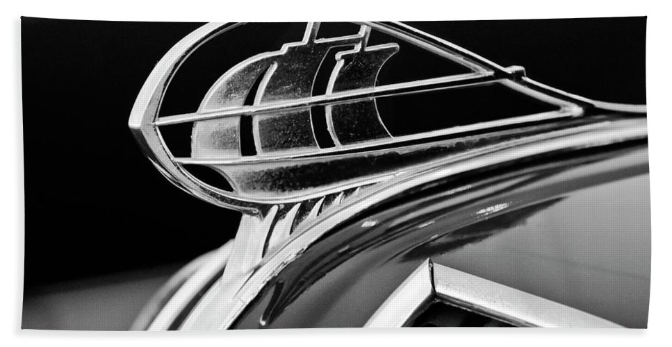 1936 Plymouth Sedan Hand Towel featuring the photograph 1936 Plymouth Sedan Hood Ornament 2 by Jill Reger
