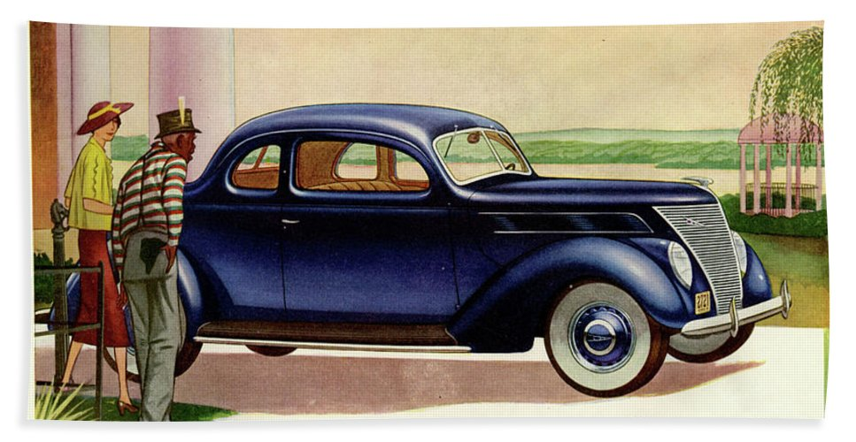 Vintage Ads Bath Sheet featuring the drawing 1937 Ford Car Ad by Allen Beilschmidt