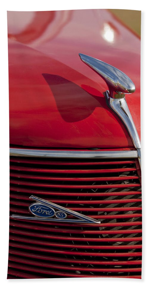 1937 Ford Hand Towel featuring the photograph 1937 Ford Hood Ornament by Jill Reger