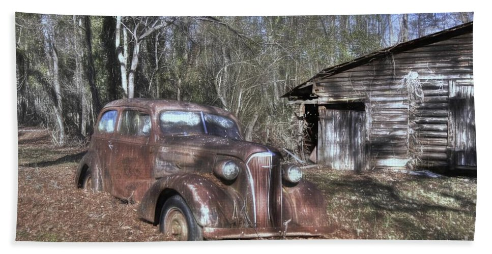 1937 Chevrolet Master Deluxe Hand Towel featuring the photograph 1937 Revisited by Benanne Stiens