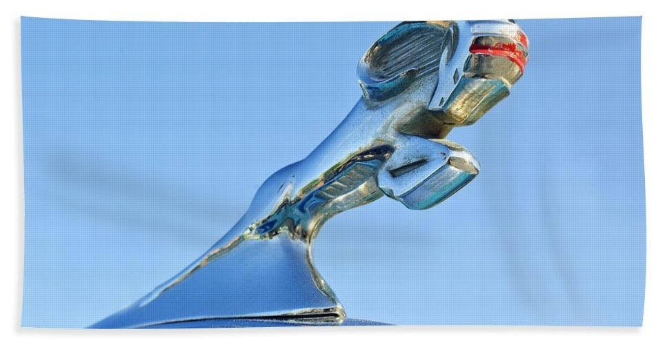 1940 Dodge Business Coupe Hand Towel featuring the photograph 1940 Dodge Business Coupe Hood Ornament by Jill Reger