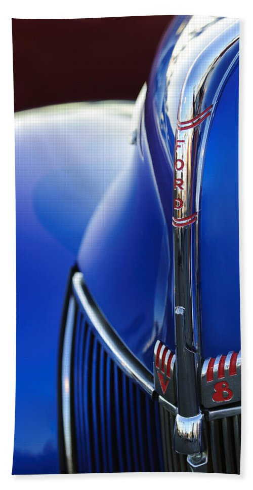 1940 Ford V8 Hand Towel featuring the photograph 1940 Ford V8 Hood Ornament 3 by Jill Reger