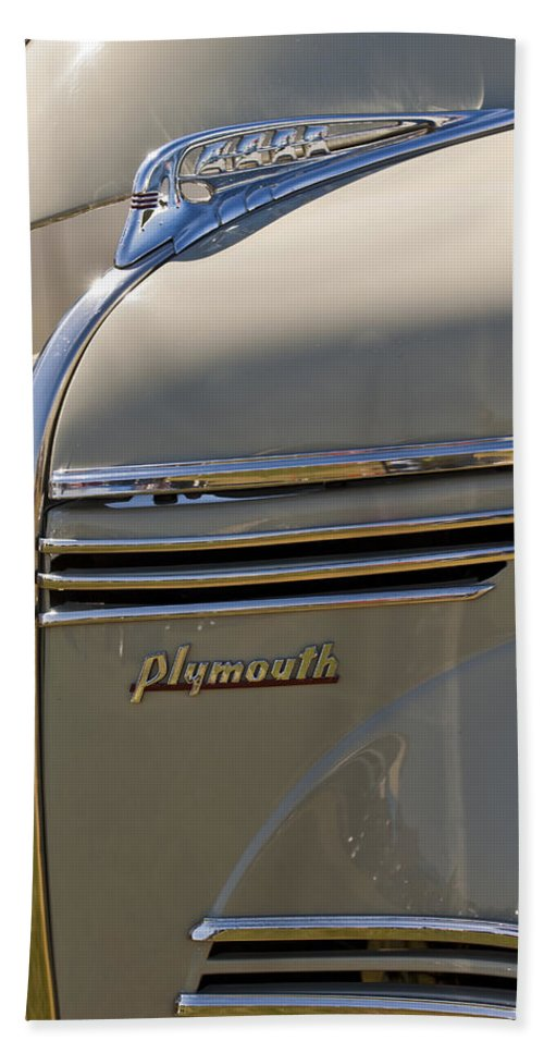 1940 Plymouth Hand Towel featuring the photograph 1940 Plymouth Hood Ornament 2 by Jill Reger