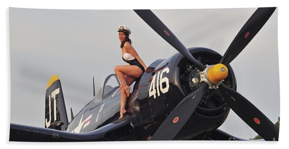 Pin-up Girls Hand Towel featuring the photograph 1940s Style Navy Pin-up Girl Sitting by Christian Kieffer
