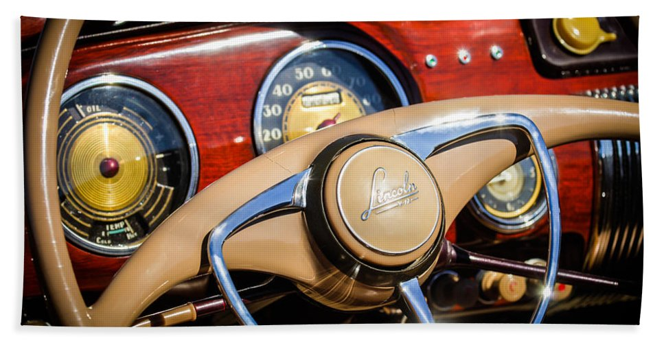 Car Hand Towel featuring the photograph 1941 Lincoln Continental Cabriolet V12 Steering Wheel by Jill Reger