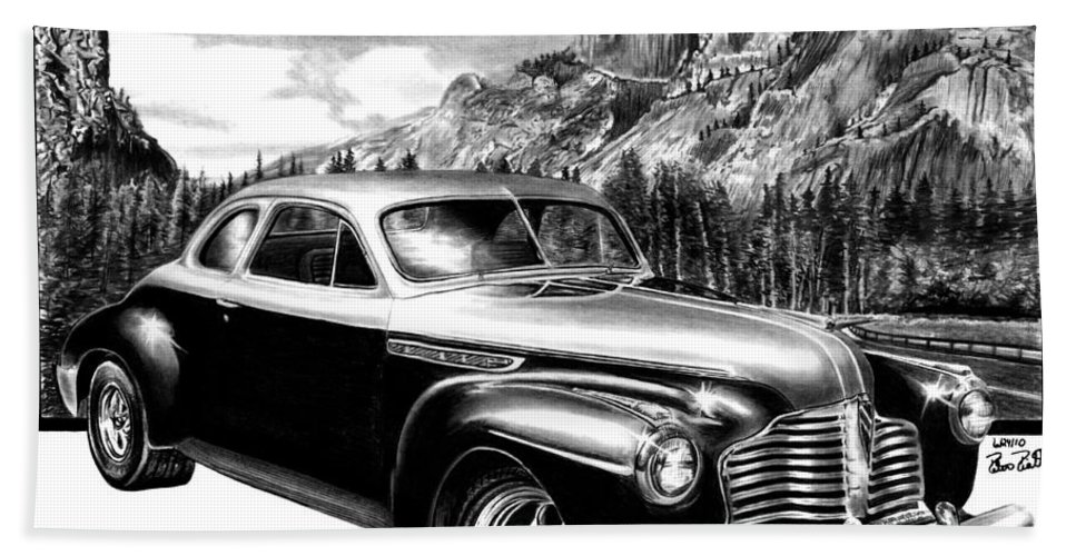 1941 Buick Roadmaster And Half Dome Bath Sheet featuring the drawing 1941 Roadmaster - Half Dome by Peter Piatt