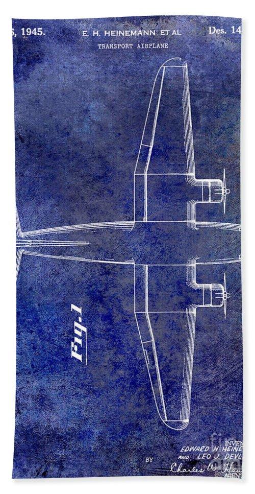 1955 Airplane Patent Bath Towel featuring the photograph 1945 Transport Airplane Patent Blue by Jon Neidert