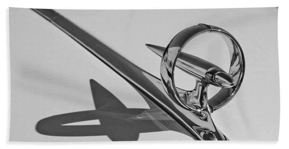 1946 Buick Hand Towel featuring the photograph 1946 Buick Hood Ornament by Jill Reger