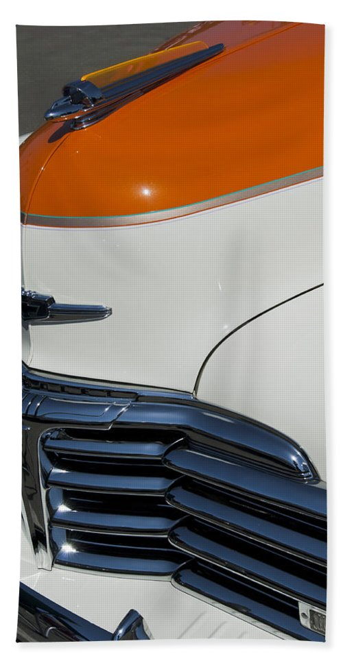 1947 Chevrolet Deluxe Bath Sheet featuring the photograph 1947 Chevrolet Deluxe Front End by Jill Reger