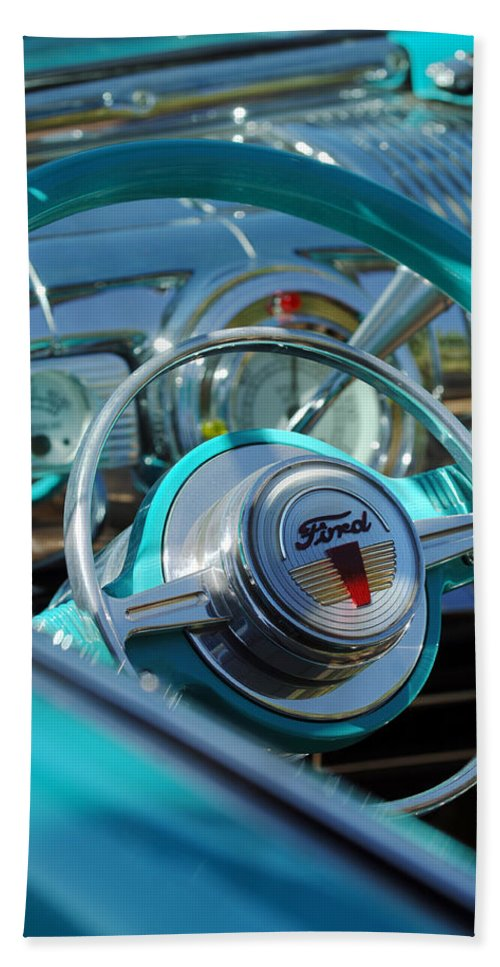 Car Bath Sheet featuring the photograph 1947 Ford Deluxe Convertible Steering Wheel by Jill Reger