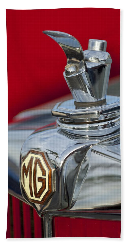 1947 Mg Tc Hand Towel featuring the photograph 1947 Mg Tc Non-standard Hood Ornament by Jill Reger