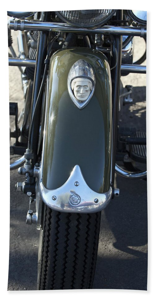 1948 Indain Chief Motorcycle Bath Sheet featuring the photograph 1948 Indian Chief Motorcycle Hood Ornament by Jill Reger